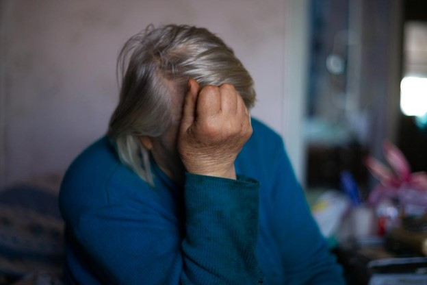 Elderly woman suffering from depression.