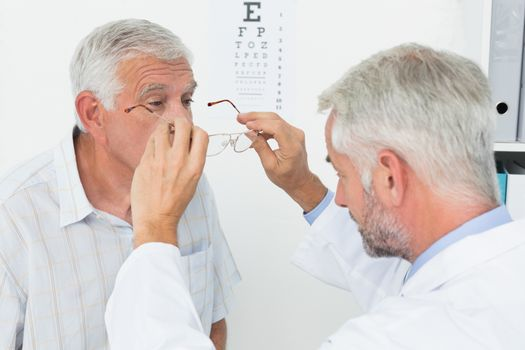 A senior getting his eyes tested