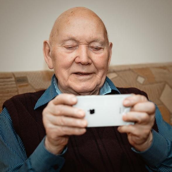 A senior using a smartphone